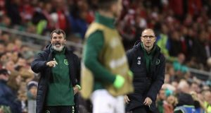 Republic of Ireland manager Martin O'Neill (right) and assistant manager Roy Keane during the  Nations League  match at the Aviva stadium. Photograph:  Niall Carson/PA Wire