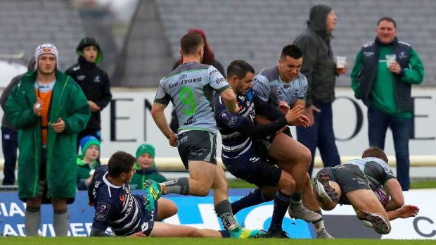 Kyle Godwin scores his second try in Connacht's win over Bordeaux in Galway. Photograph: Tommy Dickson/Inpho