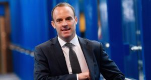 Britain's Brexit secretaty Dominic Raab is flying to Brussels on Sunday for talks with the EU's chief Brexit negotiator Michel Barnier. Photograph: EPA
