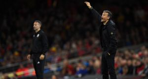 Spain manager  Luis Enrique signals to his players during the  during the friendly against Wales at the Principality stadium in Cardiff. Photograph:  Stu Forster/Getty Images