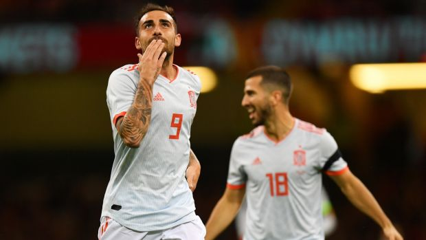 Paco Alcacer of Spain celebrates after he scores his team's first goal during the friendly against Wales at the Principality stadium in Cardiff. Photograph: Dan Mullan/Getty Images
