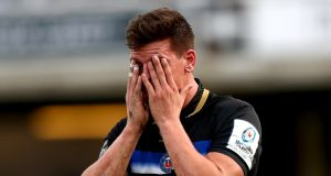 Freddie Burns reacts after his mistake against Toulouse. Photograph: James Crombie/Inpho