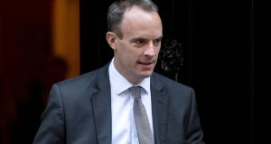 Brexit secretary Dominic Raab  arrived mid-afternoon in Brussels and stayed for less than two hours and  refused to meet journalists. Photograph: Will Oliver/EPA