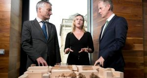 The  European Investment Bank loan will help  fund  four capital developments across the TCD campus. This will include the E3-Engineering, Environment and Emerging Technologies Learning Foundry facility on the main campus. Above, Dr Patrick Prendergast, provost of Trinity College; Ana-Maria Murphy-Teixidor, who is studying an MSc in development practice; Andrew McDowell, vice president of the EIB. Photograph:  Iain White/Fennell Photography