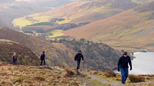 Walkers enjoy a bracing ramble near Luggala, Co Wicklow. Photograph: Eric Luke/The Irish Times