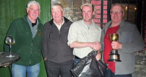 Jim Hughes (right) winner of Garda Coiste Siamsa competition on Sheelin with (from left) Dessie McEntee, Pat Foley and Colin Dodd