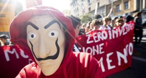 Italian students   protest in Rome against the policies of the right-wing Five Star Movement-League government. Photograph: Massimo Percossi/EPA