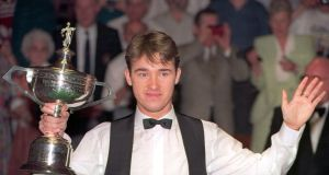 Stephen Hendry celebrates his fourth World Championship victory in 1994. Photograph: Mike Cooper/Allsport