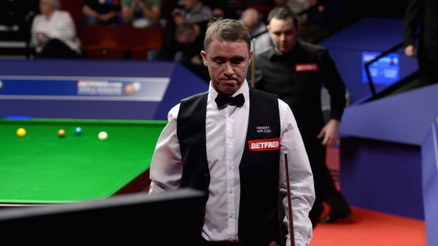Stephen Hendry during his 13-2 defeat to Stephen Maguire in 2012 - his final appearance at the Crucible. Photograph: Gareth Copley/Getty