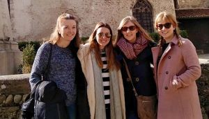 Susannah Butler  (third from right) enjoying a day trip to the medieval village of Pérouges, close to Lyon, with friends Karen, Vaia and Heather