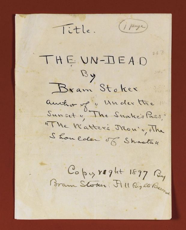 Title Page from the original manuscript of 'Dracula'