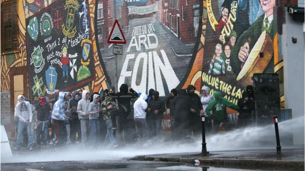Watercannon used in riots in Ardoyne, Belfast as Orangemen march past the nationalist area on their way back from a 12th July parade. Photograph: Dara Mac Dónaill