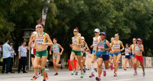 Sinead Diver of Australia leads the pack in the Women's Marathon final during day the 2015  World Athletics Championships in Beijing. Photograph: Christian Petersen/Getty Images for IAAF