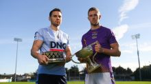 St Jude's  Chris Guckian and Kilmacud Crokes'  Paul Mannion whose sides will meet in the Dublin SFC final at Parnell Park. Photograph:  Piaras Ó Mídheach/Sportsfile