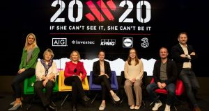 Evanne Ní Chuilinn (RTÉ), Jessica Harrington,  Sarah Keane (president Olympic Federation of Ireland), Casey Stoney (Manchester United Women's coach), Rena Buckley,  Graham Shaw (Ireland women's hockey coach) and Ger Gilroy  at the launch of the new 20x20 campaign. Photograph: Morgan Treacy/Inpho