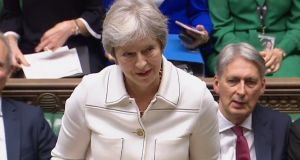 Theresa May addressing MPs in the House of Commons on Monday