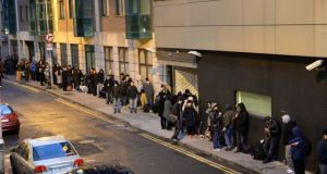 The online renewal visa system was introduced in September 2016 to end the long overnight queues which had become a fixture outside the INIS office on Burgh Quay in Dublin. File photograph: Cyril Byrne