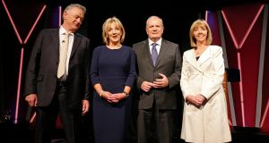 Candidates (from left) Peter Casey; Liadh Ní Riada; Gavin Duffy and Joan Freeman before last night's debate. Photograph: Nick Bradshaw