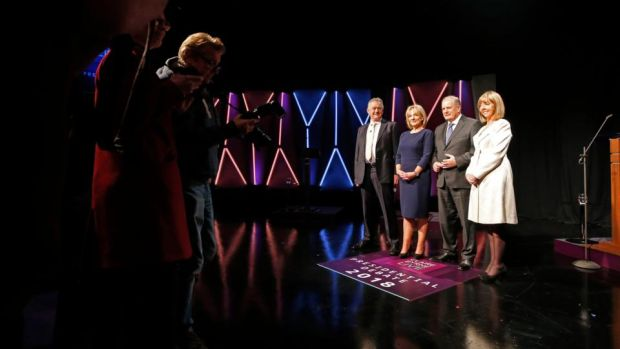 Candidates (from left) Peter Casey; Liadh Ni Riada; Joan Freeman and Gavin Duffy just before their live debate on RTÉ's 'Claire Byrne Live' Photograph: Nick Bradshaw/The Irish Times