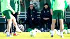 Republic of Ireland manager Martin O'Neill watches the team train on Monday. Photograph: Ryan Byrne/Inpho