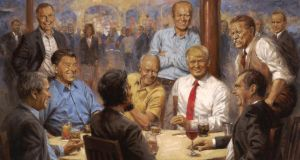 White House portrait: Andy Thomas's painting of Donald Trump and former Republican presidents. Photograph: Andy Thomas