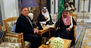 Saudi Arabia's King Salman bin Abdulaziz Al Saud meets US secretary of state Mike Pompeo in Riyadh, Saudi Arabia. Photograph: Leah Millis/Pool/Reuters