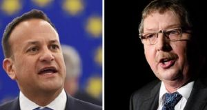 "DUP MP Sammy Wilson (R) said talk about the backstop 'is little more than a con trick"" and warned that 'it will backfire on your economy.' Photographs: AFP/Getty Images."