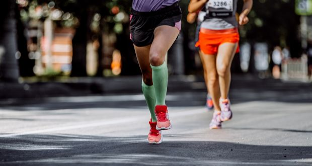 fdb74ab338 A runner wears compression socks. File photograph: Getty Images