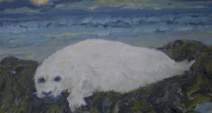 Stranded baby grey seal. Painting: Michael Viney