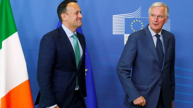Taoiseach Leo Varadkar is welcomed by Michel Barnier in Brussels on October 4th, 2018. Photograph: Yves Herman/Reuters