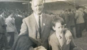 AJ Hobbins with his dad on All-Ireland final day in Croke Park in 1957.