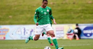 Adam Idah scored the Republic of Ireland's first goal in the victory over the Netherlands  in the Uefa Under-19 Championship Qualifying Round in Longford. Photograph: Andrew Fosker/Inpho