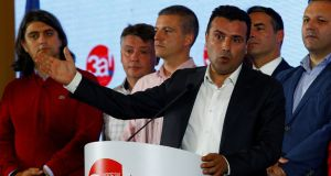 Macedonian prime minister Zoran Zaev speaks on the night of the referendum on changing Macedonia's name. Photograph: Ognen Teofilovski/File Photo/Reuters