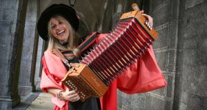 SQUEEZEBOX DOCTORATE: Sharon Shannon was conferred today with Honorary Doctor of Music at NUI Galway Photograph: Aengus McMahon