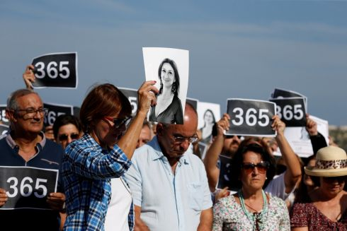SILENCE: People attend three minutes of silence as they gather at the site where anti-corruption journalist Daphne Caruana Galizia was assassinated in a car bomb one year ago, in Bidnija, Malta on October 16th, 2018. Photograph: Darrin Zammit Lupi/Reuters
