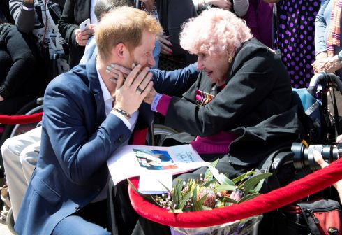 ROYAL MEETING: Prince Harry, Duke of Sussex, meets Daphne Dunne during a visit at the Sydney Opera House in Sydney, Australia on October 16th, 2018. Photograph: Paul Edwards/Reuters