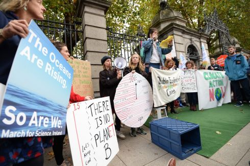 CLIMATE CHANGE: Some of the crowd taking part in the demonstration to demand action from the Government to tackle climate change outside Leinster House, Dublin. Photograph: Dara Mac Donaill/The Irish Times