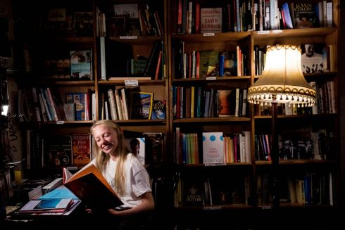BOOKWORM: Irish Book Week Launch at the Winding Stair bookshop, Ormond Quay, Dublin. Books Ambassador Sarah Fitzgerald (14) is pictured at Launch. Photograph: Tom Honan/The Irish Times.