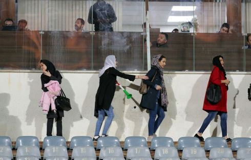 WOMEN SUPPORTERS: Iranian women - most of them family of players, federation employees and relatives - arrive as they are allowed for the first time to take part at a friendly soccer match between Iran and Bolivia at the Azadi Stadium in Tehran, Iran on October 16th, 2018. Photograph: Abedin Taherkenareh/EPA