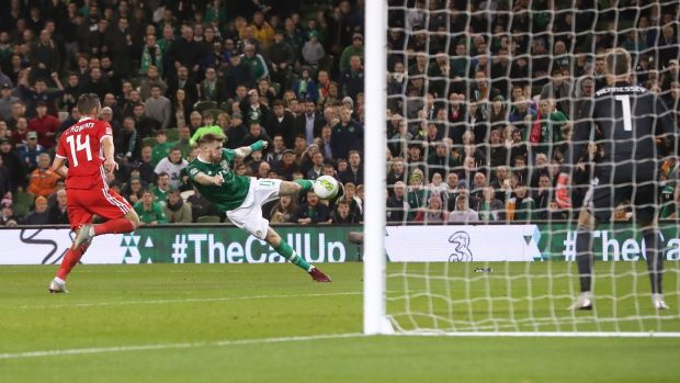 McClean shoots at goal late on. Photo: : Niall Carson/PA Wire.