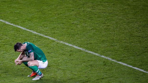 Ireland's Shane Duffy dejected after the Uefa Nations League game against Wales at the Aviva stadium. Photograph: Gary Carr/Inpho