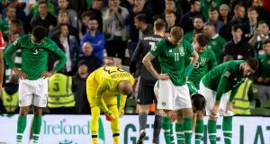 Ireland players dejected at the final whistle of the  Uefa Nations League at the  Aviva stadium. Photograph: Morgan Treacy/Inpho