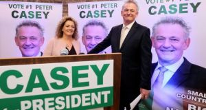 Peter Casey and his wife Helen at the EPIC centre in Dublin for the official launch of his presidential campaign. Photograph: Brian Lawless/PA
