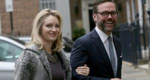 James Murdoch, the son of media mogul Rupert Murdoch, pictured with his wife Kathryn Hufschmid Photograph: Reuters