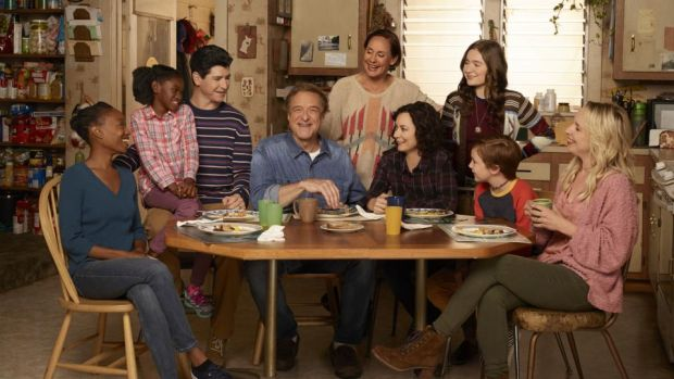 The Conners: Maya Lynne Robinson, Jayden Rey, Michael Fishman, John Goodman, Laurie Metcalf, Sara Gilbert, Emma Kenney, Ames McNamara and Lecy Goranson in the ABC comedy. Photograph: Robert Trachtenberg/ABC