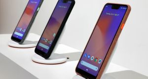 New Google Pixel 3 smartphones are displayed in New York. Google's Play Store is currently considered an essential part of Android. Photograph: Richard Drew/AP