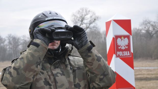A guard at the Poland-Ukraine Border