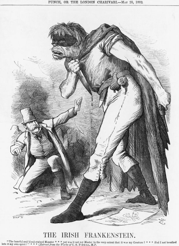'The Irish Frankenstein', 1882. An awestruck Charles Parnell of the Irish Nationalist Party is crouching before his Creature, which is depicted with the usual simian features of the Irishman in Punch cartoons. Photograph: The Cartoon Collector/Print Collector/Getty Images