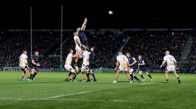Leinster's Devin Toner and Brad Shields of Wasps in the lineout during last week's Heineken Cup game. Toner admits his side were forced to make adjustments.  Photograph: Dan Sheridan/Inpho
