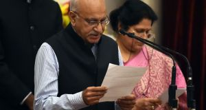 MJ Akbar during his swearing-in ceremony as a minister. Photograph: Prakash Singh/AFP/Getty Images